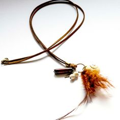 Collar boho chic con plumas y Jaspe por LauritalaComplmentos
