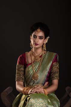 BRIDES'19 on Behance Bridal Sarees South Indian, Bridal Silk Saree, Indian Bridal Outfits, Indian Bridal Fashion, Saree Wedding, Indian Wedding Sarees, Kanjivaram Sarees Silk, South Indian Bridal Jewellery, Drape Sarees