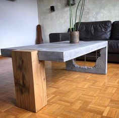 Concrete and Wood coffee table!⠀⠀ Show your work – Email for features… Concrete and Wood coffee table!⠀⠀ Show your work – Email for features⠀⠀ .⠀ made by Concrete and Wood coffee table!⠀⠀ Show your work – Email for features… Concrete Coffee Table, Reclaimed Wood Coffee Table, Rustic Coffee Tables, Coffee Table Design, Wood Table Design, Coffee Table Legs, Raw Furniture, Concrete Furniture, Concrete Wood