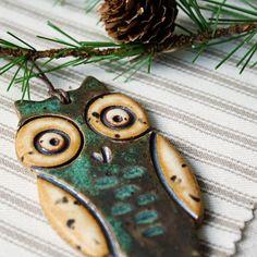 Handmade Christmas ornament- Hoot Owl- green