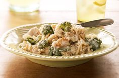 Creamy Chicken and Pasta Bake  1-1/2 cups (multigrain) rotini pasta, uncooked  3cups small broccoli florets  1lb. boneless skinless chicken breast, cut into bite-size pieces  1/2 cup chicken broth  2oz. (1/4 of 8-oz. pkg.) Neufchatel Cheese, cubed  1cup Shredded Mozzarella Cheese, divided  2Tbsp. Grated Parmesan Cheese