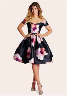 aa1e340a1a9 Sistaglam Khloe Floral Print Bardot Dress Alternative Fashion