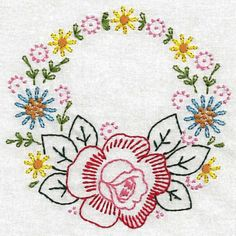 Vintage Floral Wreaths Colorwork - Embroidery Playground | OregonPatchWorks