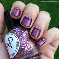 Half Moon nail art created with Pretty and Polish Life is a Bowl of Cranberries, Noodles Nail Polish Autumn Berry and Glam My Mani french tip nail vinyls.