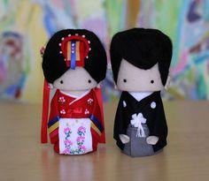 Cutie Korean hanbok bride and Japanese--wedding cake topper by Yu Yu Art.