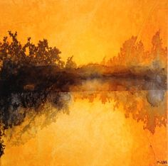 summer sunset abstract landscape ink and collage on canvas by MagalieORS on Etsy https://www.etsy.com/listing/241908543/summer-sunset-abstract-landscape-ink-and