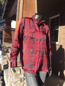 Women's Jones New York Red Plaid Button Down Dress Shirt NWT Med Free Ship     eBay