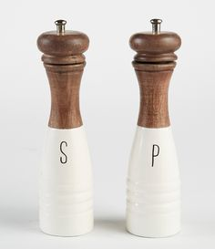 Season any dish to perfection with the Salt and Pepper Mill Set. Brown mango wood salt and pepper mill shakers are accented with a glossy white enamel finish. Salt And Pepper Chicken, Salt And Pepper Mills, Salt And Pepper Grinders, Salt Pepper Shakers, Salt Dough Crafts, Mud Pie, White Enamel, Summer Cookies, Baby Cookies