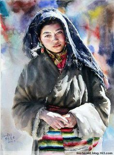 Stunning Watercolor Painting by Chinese artist Liu Yunsheng Watercolor Art Face, Watercolor Portraits, Watercolor Paintings, Watercolors, Watercolor Artists, Painting People, Figure Painting, Painting & Drawing, Portrait Au Crayon
