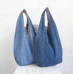 Denim Bag Patterns, Hobo Bag Patterns, Sewing Patterns, Diy Denim, Denim Crafts, Apple Os, Denim Look, Bag Pattern Free, Diy Handbag