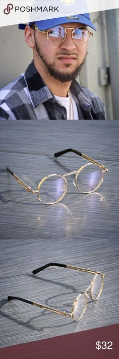 8317b69b8f Mens Hip Hop Round Gold Frame Clear Eye Glasses Round Gold Frame Mens Clear  Eye Glasses
