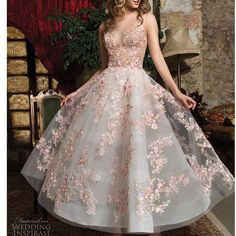 A-line dress with colorful embroidered flowers ,deep v evening dress,short homecoming dress ,colorful ball gowns - Outfits - Vestidos Elegant Dresses, Pretty Dresses, Formal Dresses, Wedding Dresses, Casual Dresses, Maxi Dresses, Engagement Dress For Bride, Prom Dresses Tea Length, Prom Dresses Flowers