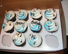 The cupcakes with candles in them. Colin MacDonald of the Trews' birthday celebrations, May 31/13, Lewiston, NY.