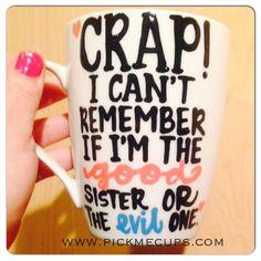 sister mug good sister evil sister funny valentines by PickMeCups