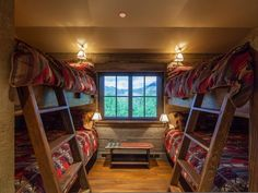 What an amazing rustic retreat for the kids or adults as each of these bunks is a queen size bed!