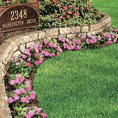 Stone Wall Border™ Landscape Edging .. Front of the house along the driveway