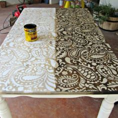 Wood stain over a stencil
