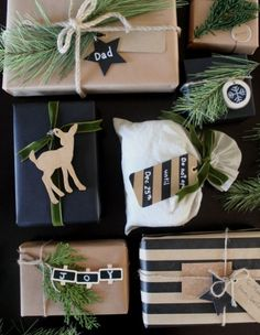 The perfect rustic gift wrapping ideas. I love the black white and green. The greenery and wood and perfect natural elements! The perfect rustic gift wrapping ideas. I love the black white and green. The greenery and wood and perfect natural elements! Christmas Gift Wrapping, Xmas Gifts, Christmas Presents, Diy Gifts, Christmas Decorations, Christmas Gifts Grandma, Girlfriend Christmas Gifts, Christmas Gift Ideas, Christmas Gift Pictures