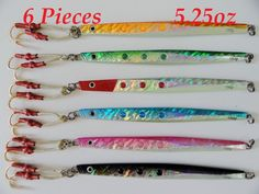 Speed Jigs 6 Pieces 5.25oz/150g Knife Vertical Butterfly Jigs -6 Colors With Bag
