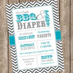 Diaper Invitation for Baby Shower or Diaper Bash Pink and Gray ...