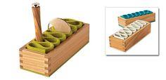 e m Felt-Q Wooden Desk Organiser