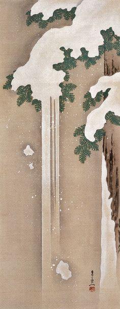 Pine in Snow. 鈴木其一 Suzuki Kiitsu『雪中檜図』Japanese hanging scroll.