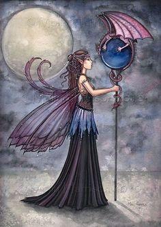 Dragon Knows All - Fairy & Dragon Fine Art Giclee Print BIG 12 x 17 - Fairies…