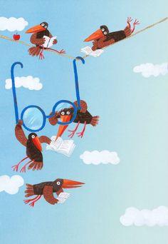 bibliolectors:  Flying with reading / Volando con la lectura (ilustración de Atefe Maleki Joo)