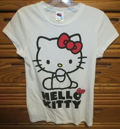 For sale in our eBay store - so cute!  Click photo for details...  HELLO KITTY XS Small Women's JR Junior Shirt T-shirt Tee Top White Bows Japan  #StatmentGraphicTee #Japan #Jfashion #FairyKei #Kei #Fairy #hellokitty