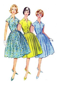 Vintage Sewing Pattern Illustration  Looks like some dresses that I had made for me.