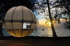 The Cocoon Tree Tent is one part tent, one part hammock, as it gently bounces in the breeze and rocks its inhabitants to sleep.