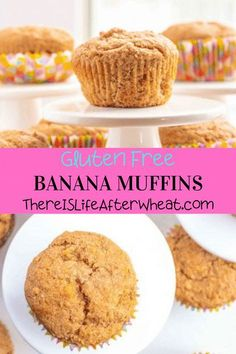 These healthy Banana Muffins are the perfect combination of taste, texture, and wholesome ingredients! They're quick and easy to make, and the kids love them! Gluten Free Crepes, Gluten Free Recipes For Breakfast, Gluten Free Banana, Gluten Free Muffins, Gluten Free Breakfasts, Gluten Free Flour, Healthy Banana Muffins, Vanilla Yogurt, Muffin Cups