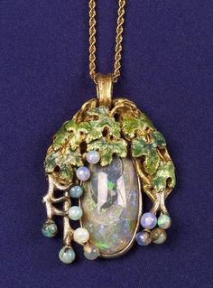 Black Opal, Opaline and Enamel Pendant, Tiffany  Co., 1905,the black opal among opaline grapes, vines and enamel leaves, 18kt gold and platinum mount, signed