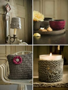 sweaters transformed into covers for lampshades, vases, bowls, cups, pillows and even bangles