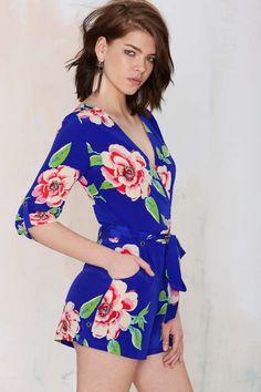 Yumi Kim Liz  Floral Romper - Blue - Romper
