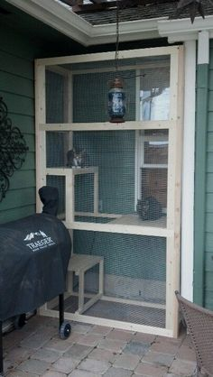 LOVE this screened in outdoor cat area. My inside cats would LOVE to be able to… LOVE this screened in outdoor cat area. My inside cats would LOVE to be able to climb out a window for some fresh air by carolina Diy Cat Enclosure, Outdoor Cat Enclosure, Cat Cages, Ideias Diy, Cat Condo, Outdoor Cats, Outdoor Cat House Diy, Outdoor Balcony, Indoor Outdoor