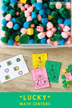 """Lucky"" marshmallow cereal OR St. Patrick's Day mini-erasers are the perfect math manipulative! #luckycharms #stpatricksday #mathcenters #minierasers"