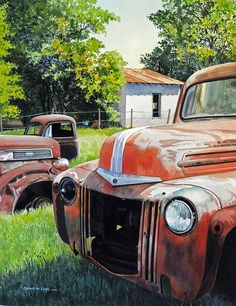 The cars are great, but the grass and trees are amazing!  watercolor by Robert W Cook