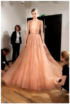 ELIE SAAB Backstage - Haute Couture Fall Winter 2014-2015 // Loving the blush color.