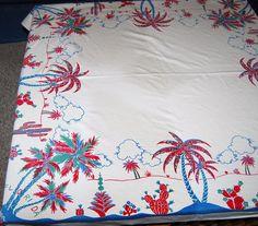 Vintage Tablecloth Florida Souvenir by CheekyVintageCloset on Etsy, $32.00
