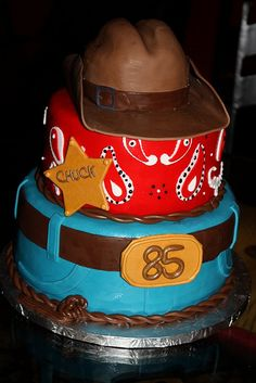 Cowboy theme cake-cute idea for toy story themed cake!!