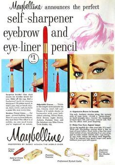 Maybelline Self-Sharpener Eyebrow & Eye-liner Pencil,  October 1957. #vintage #1950s #makeup