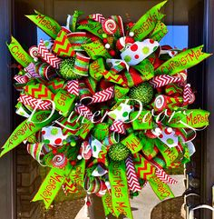 Deluxe Whimsical Christmas deco mesh Wreath by DzinerDoorz on Etsy, $185.00