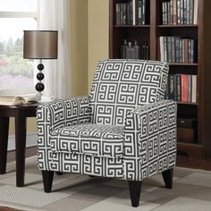 Top Product Reviews for Portfolio Tia Charcoal Grey Greek Key Arm Chair - Overstock.com - Mobile