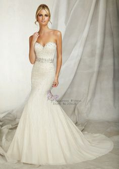 Elegant New Sweetheart Neckline Sleeveless Free Shipping Beaded Mermaid Wedding Dresses 2014 US $359.99