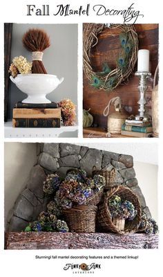 Fall mantel decorating - amazing mantel features with a blogger's themed link party via http://www.funkyjunkinteriors.net/