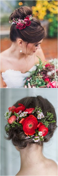 Wedding Hairstyles With Red Flower Crowns #wedding #weddingideas #hairstyles