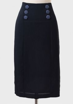 This retro inspired skirt has fun buttons on the waist and comes in navy blue, a color I have had a difficult time finding in a pencil skirt. Also notice the longer than usual length.