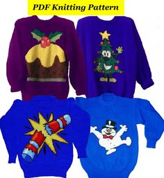 4 x Childrens & Adults Christmas Jumper by BlondiesKnitDesigns