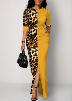 Party Dresses For Women Leopard Print Side Pocket Front Slit Maxi Dress Latest African Fashion Dresses, African Dresses For Women, African Print Fashion, Women's Fashion Dresses, Latest Dress, Casual Dresses, Maxi Dress With Slit, Hot Dress, Looks Chic